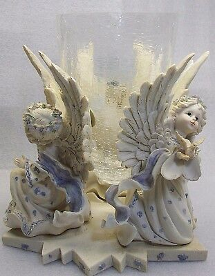 """3 Angels Holding Dove Resin Statue Figurine Vase with Glass Flower Vase 10"""""""