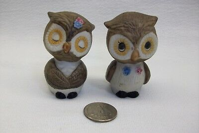 Vintage Pair Of Owls Salt and Pepper Shakers Ceramic Made in Korea