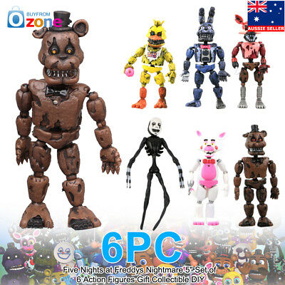 "Five Nights at Freddys Nightmare 5"" Set of 6 Action Figures Gift"