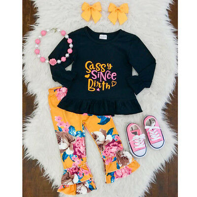 2PCS Newborn Toddler Kids Baby Girls Tops+Floral Pants Clothes Outfits Set Party