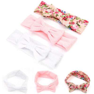 3pcs Elastic Newborn Baby Girls Headband Cotton Print Floral Hair Band Bow-knot