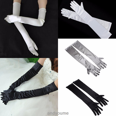 Women Lady Satin Arm Hand Long Sleeve Gloves Evening Party Opera Bridal Wedding