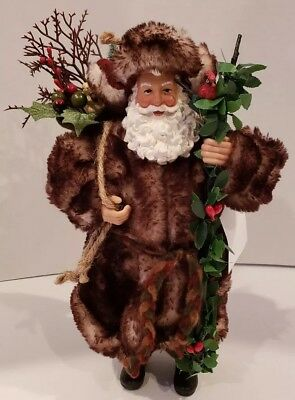 Christmas Woodland Style St. Nick Santa Claus Gift Bag Vine Staff Fur 10.5 Inch