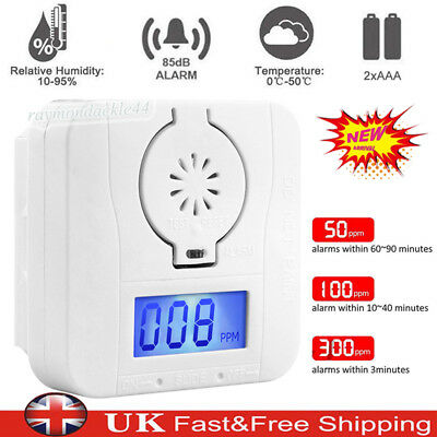 LCD CO Carbon Monoxide&Home Smoke Detector Alarm Poisoning Gas Warning Sensor UK