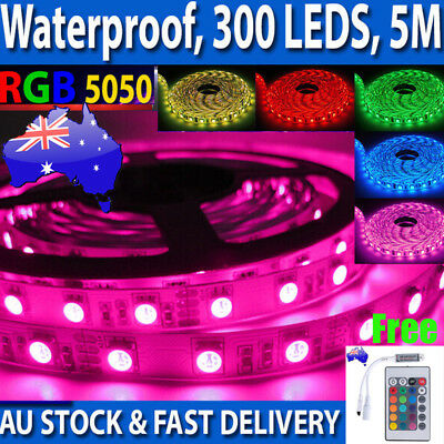 AU RGB LED Strip Lights Waterproof 5050 5M 300 LEDs 12V + 24 key IR Controller