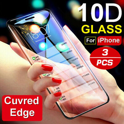 3Pcs 10D Tempered Glass For iPhone Xs Max XR Curved Full Cover Screen Protector
