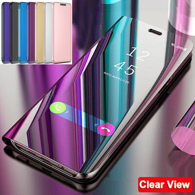 Flip Wallet Case for Samsung Galaxy A7 2018/J4 J6+ Plus Clear View Mirror Cover