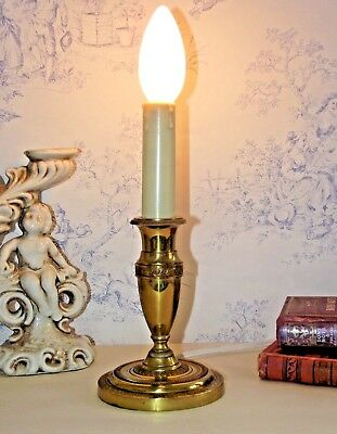 Pretty Little Vintage French Brass Candle Stick Lamp With Lovely Detailing 735