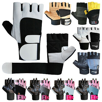 Leather Weight lifting Gloves Gym Training Fitness Straps Body Building Gloves