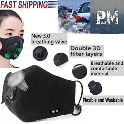 5X Dust Mask Respirator Anti Pollution PM2.5 Air Face Masks Washable Reusable UK