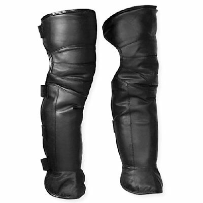Unisex Motorcycle Rider Black Leather Half Chaps Legging Leg Cover Warmer Gaiter