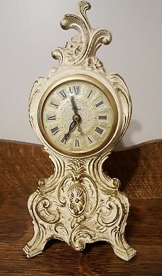 United Clock Company Vintage Filigree Victorian White Mantle Clock Tested/Works