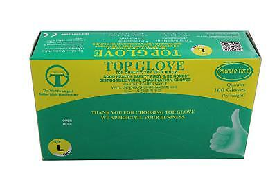Top Glove Powder Free Disposable Vinyl Gloves - AQL 1.5 - Box of 100 (Large)