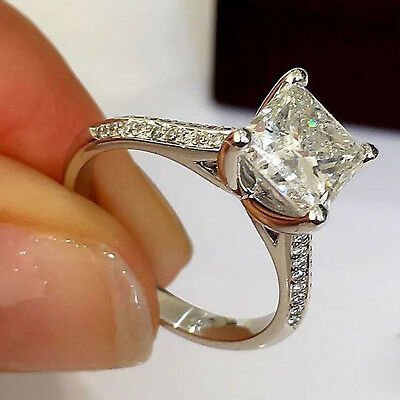 1.25 Ct Princess Cut Diamond Solitaire Engagement Ring Solid 14K White Gold