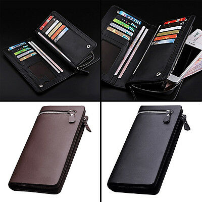 New Men Leather ID Credit Card Holder Clutch Purse Long Zipper Wallets lot j03MG