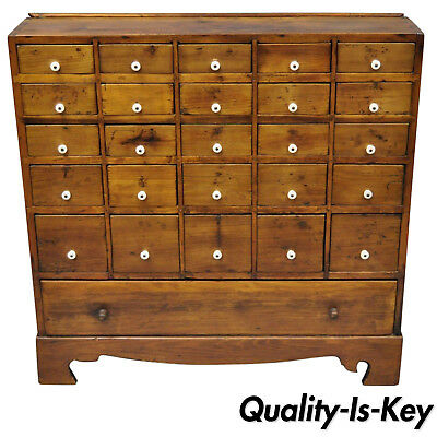 19th Century American 26 Drawer Dovetailed Pine Wood Apothecary Cabinet Chest