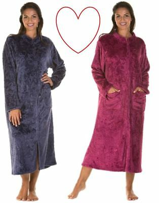 LADIES WOMENS DRESSING Gown Zip Up Button Bath Soft Warm Robe House ... c9f25f454