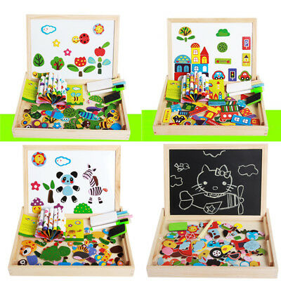 Magnetic Board Puzzle Games Wooden Double Side Drawing Writing Board Kids Learn
