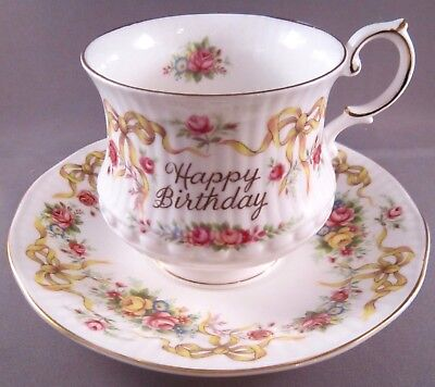 Queen's Rosina Happy Birthday Bone China Cup & Saucer - Yellow Bows - England
