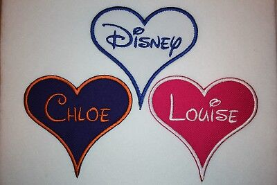 Personalised Embroidered Name Patch Heart DISNEY - Iron or sew on **FREE POST**