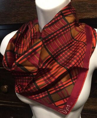Vintage Vera Red Plaid Design All Silk Scarf Made In Japan