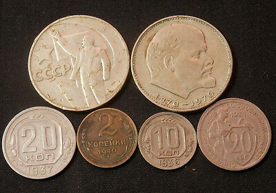 6 Different Old Coins From The Ussr (Russia)