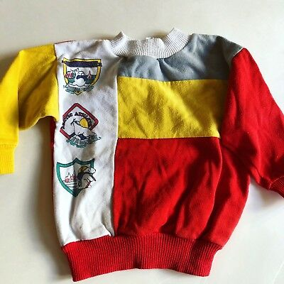 Health-Tex Boys 2T 3T Vintage Sweat Shirt Toddler RED Yellow Gray