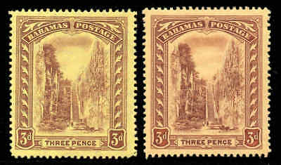Z. Bahamas 1911 KGV Staircase 3d wmk MCCA BOTH yellow shades SG 76, 76a mint #3