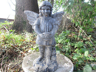 "Gorgeous Angel Girl Holding Urn Vintage Cement/concrete Garden Statue 16"" Tall"