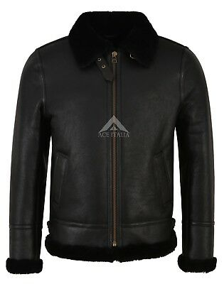 Men's B3 Black Fur Shearling Sheepskin Leather Jacket Bomber Flying RAF NV-65