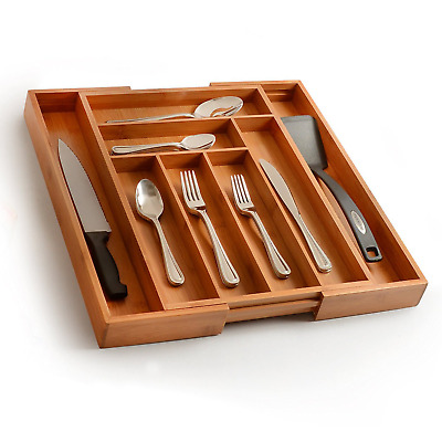 Expandable Kitchen Drawer Organizer | Bamboo Adjustable Cutlery Ustensil Tray