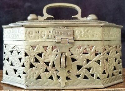 A Lovely Antique Handmade Small Indian Brass Trinket Box
