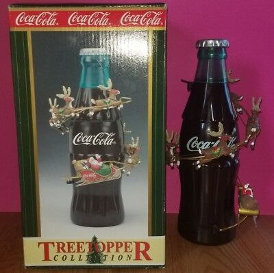HTF Coca-Cola Animated Christmas Tree Topper With Coke Bottle and Flying Santa