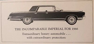Vintage 1966 Chrysler Imperial Warranty Brochure 5 year / 50,000 mile