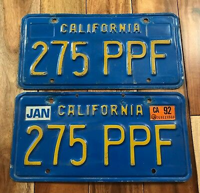 California BLUE/GOLD License Plate Pair 1970s / 1980s Classic Vintage Auto