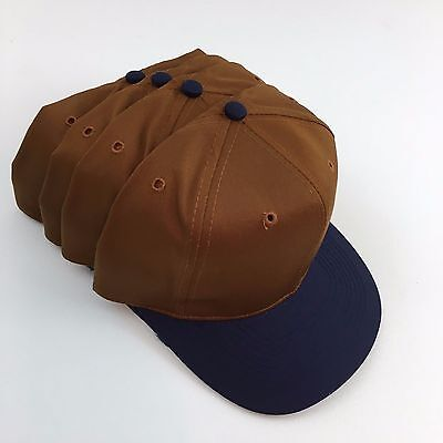 Caps Hats Blanks 4 Cotton Blend Twill High Front Brown Cap Navy Flat Visor Otto