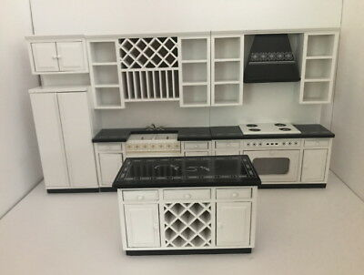 Dolls House Miniature 1:12th Scale White & Black Fitted Kitchen With Island