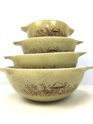 Vintage Pyrex Nested Mixing Bowls Corning Ware Forest Fancies Mushroom Set Of 4