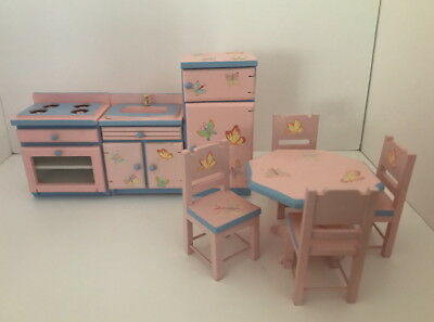 Dolls House Miniature 1:12th Scale Pink & Blue Kitchen, 8 Pieces