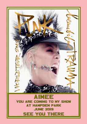 Pink Beautiful Trauma Personal Ticket Card For Hampden Wembley Annfield Cardiff