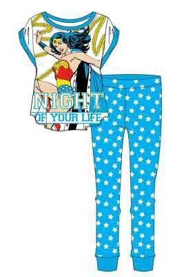 Ladies Girls DC Comics Wonder Woman Superhero  Lounge Set Blue Pyjamas PJs 8-22