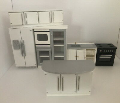 Dolls House Miniature 1:12th Scale Modern White & Silver Kitchen, 6 Pieces