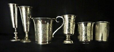 Antique Russian Imperial Silver 84 Set Of 6 Beautiful Engraved Kiddush Cups