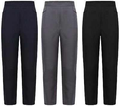 Brand New Girls Back To School Pull Up Half Elasticated Waist Trousers Size 2-13