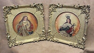 """Pair Of Peru Cuzco Painting """"Mother & Child"""" W. Antique Frames 15"""" x 15"""""""