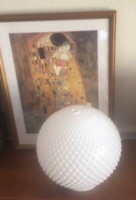 Vintage Milk Glass Beaded Hobnail white Globe Shade Torchiere Shade Fixture
