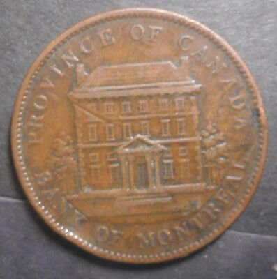 Lower  Canada 1842 Bank of Montreal  One Penny Token Nice
