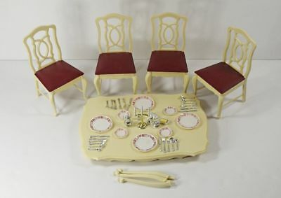 Vintage Marx Toys Sindy Dining Room Table Top Chairs & Accessories