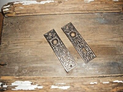 Vtg 2 Matched Aged Patina  Fancy Eastlake Victorian Cast Iron Door Backplates