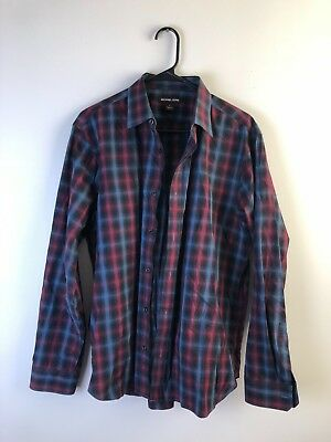 Michael Kors Men's Red Black and Blue Plaid Button Up Size Large